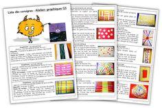 Ateliers graphiques GS - Consignes à coller - Journal de bord d'une instit' débutante