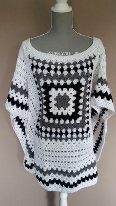 crocheted poncho, gehaakte poncho https://www.etsy.com/nl/listing/493504349/gehaakte-poncho
