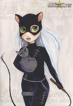 Cat Woman Fan Art - Art Print  LilliBean Designs