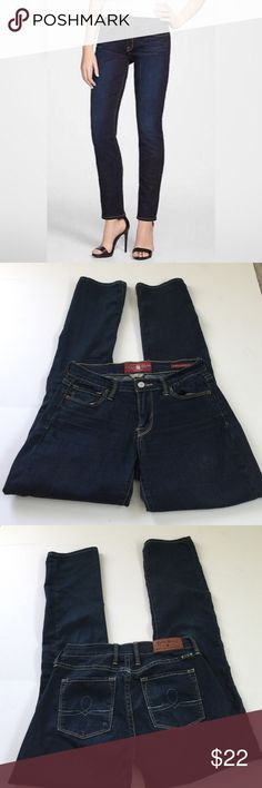 Lucky Sofia Straight Jeans, size 26 Lucky Sofia Straight dark wash jeans in size 26.  Flat lay measure of the waist is 14. Rise is 8.5 and inseam is 31.5. Made from 81% cotton, 18% polyester and 1% elastane. Please ask if you have any questions. Lucky Brand Jeans Straight Leg