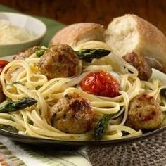Linguini with Roasted Vegetables and al fresco Italian Style Chicken Meatballs Allrecipes.com