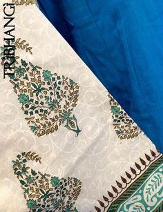 Turquoise blue and cream Jaipur block print gopi by Tribhangi