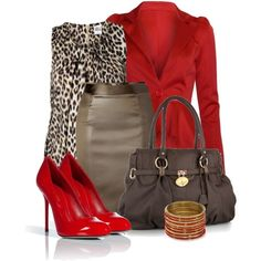 Except brown shoes instead of red. I would let the red blazer be the pop of color in this outfit.