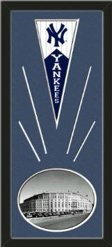 New York Yankees Wool Felt Mini Pennant & Yankee Stadium 1950 Outside Photo - Framed With Team Color Double Matting In A Quality Black Frame-Awesome & Beautiful