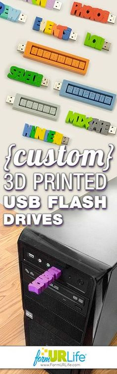 MUST HAVE: 3D Printed Typographic Flash Drive designs - customized with any text, color and capacity! Great gift or back to school idea!