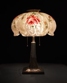 Pairpoint Reverse Painted Rose Lamp.