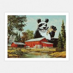 Panda Pizza Party 16x12 now featured on Fab.