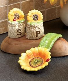 Tuscan Spring Sunflowers Bistro Countertop Sets Salt N Pepper Shakers Holder Spoon Rest Ceramic Kitchen Accent Decor KNL Store http://www.amazon.com/dp/B00J2C92Q0/ref=cm_sw_r_pi_dp_JKBMtb07GBR9CW3R