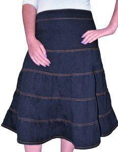 42f1d7591f94 Kosher Casual Women s Modest Knee Length Tiered Denim Skirt Small Stonewash  Blue