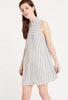 Cooperative by Urban Outfitters Stripe Pleat Side Shirtdress in Grey