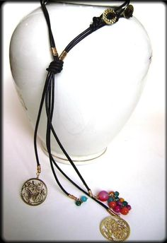 Butterfly faux leather necklace