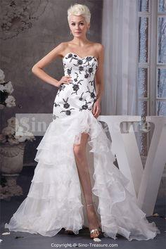 White Brush/ Sweep Train Ruffles Satin Prom Dress