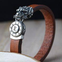 Men's Sterling Silver Dragon Clasp Leather Bracelet