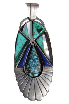 Vintage Signed Navajo Sterling Silver Turquoise Pendant Channel Inlay Ella White | eBay