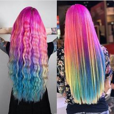 Like what you see? Follow me for more: @uhairofficial Fancy Hairstyles, Curled Hairstyles, Hairstyle Ideas, Hair Ideas, Cosplay Makeup, Costume Makeup, Rainbow Hair, Rainbow Stuff, Hair Creations