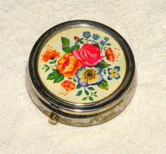 Vintage Pill Box Floral Scene w/Divider Old