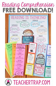 Comprehension Posters and Foldups Reading Comprehension Freebies! Poster, Bookmarks, and Fold ups. Love teaching that reading is thinking! Poster, Bookmarks, and Fold ups. Love teaching that reading is thinking! Reading Workshop, Reading Skills, Reading Goals, Reading Intervention Activities, Guided Reading Binder, Guided Reading Organization, Reading Response Journals, Reading Notebooks, Guided Reading Activities