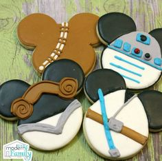 I love that my friend was able to make these DisneyStarWarsMickey cookies! They are adorable and even Mickey Mouse dresses up! CookieRecipe: CookieIngredients: 5 C flour 2 tsp baking powder 1 tsp salt 1 1/2 C softunsalted butter 2 C granulated sugar 4 eggs Royal Icing Recipe: Anakin & Princess Liela Icing Ingredients: 2 egg...Read More »