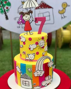 Sweet Cakes, Cute Cakes, Colorful Birthday Party, Birthday Parties, Beautiful Cakes, Amazing Cakes, Bolo Super Mario, Doodle Cake, Teacher Cakes