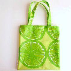 Oil cloth shopping bag in Marimekko Appelsiini pattern