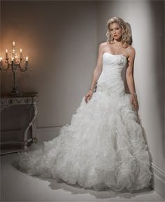 Bridal Gowns: Maggie Sottero Princess/Ball Gown Wedding Dress with Strapless Neckline and Dropped Waist Waistline