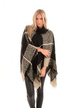 Black Poncho | Jayley Roll Neck Knit Poncho