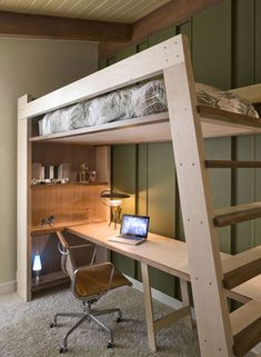 Handmade Modern: A Lofted Bed You Can't Find In Stores kids bed - What a great way to save space with multiple use functions. All kids love bunkbeds. My child has a full size bed and complete bedroom suite and would rather have this, haha! Loft Bed Diy, Adult Loft Bed, Build A Loft Bed, Loft Spaces, Small Spaces, Kid Spaces, Bunk Bed With Desk, Bunk Bed Desk, Loft Bed With Couch