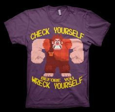 Wreck it Ralph - Check Yourself Shirt from http://www.catacombscds.com/product/Wreck_it_Ralph_-_Check_Yourself_Shirt.html