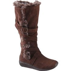 Featuring fashionable faux fur lining and trim, these boots by Brinley are sure to keep you warm. Buckle and strap accents add style to these knee-high boots. A slightly padded footbed, inside zip closure and textured rubber soles add comfort and ease of wear.