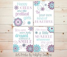 Purple Bedroom Decor Toddler Girl Art Prints She Leaves Little Sparkle Quote Inspirational Tween Girl Art Baby Girl Art Nursery Prints 0898 Set
