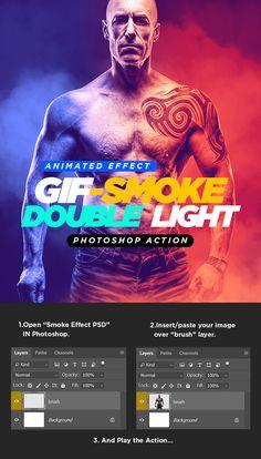 Gif Animated Smoke Double Lighting Photoshop Action: Photo Effects Photoshop created by haicamon. Photoshop Logo, Best Photoshop Actions, Effects Photoshop, Photoshop Tips, Photoshop Design, Photoshop Tutorial, Photoshop Celebrities, Photoshop Website, Photoshop For Photographers