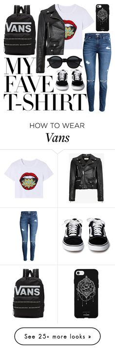 """T-Shirt thrills"" by cyanbluebree on Polyvore featuring Yves Saint Laurent, Vans, Fifth & Ninth and MyFaveTshirt"