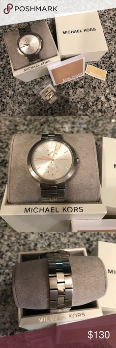 "Michael Kors Watch ~ Garner ~ W/Box ~ EUC! ⭐️ Michael Kors watch...⭐️ Silver with light silver face and Rose Gold dials! Comes with box, watch pillow, extra links (and pins), Michael Kors care booklet and original price tag. The style number is: MK6407 and I've added a ""stock"" photo (the last one). It is in excellent pre-owned condition, having only been worn off and on for a couple months and I just realized the other day that the protective plastic was never removed from the watch face…"