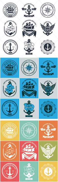 Vintage Retro Nautical Badges and Labels Vector Template #design Download: http://graphicriver.net/item/vintage-retro-nautical-badges-and-labels/6473655?ref=ksioks