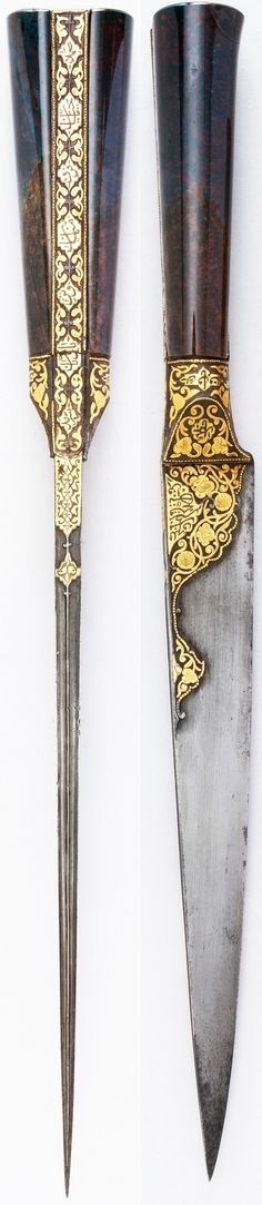 Persian kard dagger, ca. 1800, steel, agate, gold, wood, velvet, copper, L.15 in. (38.1 cm); W. 1 1/4 in. (3.2 cm); Wt. 16.3 oz. (462.1 g), Met Museum, Bequest of George C. Stone, 1935.