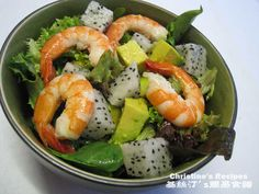 Shrimp, Avocado and Dragon Fruit Salad....Abby Moore would love this!