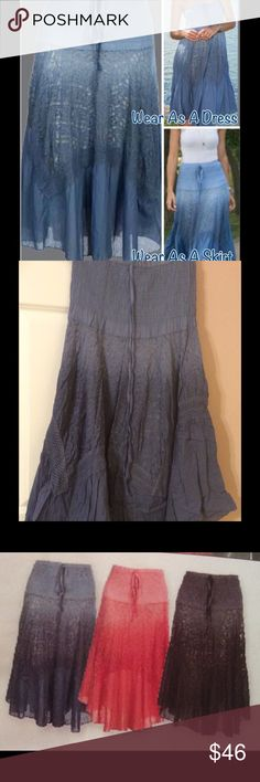 Ombré Convertible Skirt/Dress Wear it as a skirt or dress one size Ombre Convertible. Three colors available, one color each. Blue, Black, Coral. When ordering specify color. Skirts Maxi
