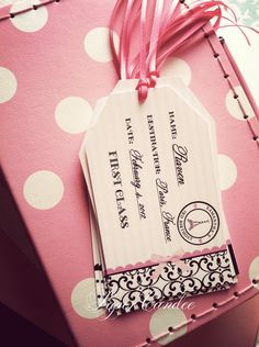 PRINTABLE file - Passport to Paris Party Luggage Tags - Assembled by PaperCandee. $10.00, via Etsy.