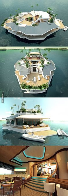 Funny pictures about Magnificent Floating Island Boat. Oh, and cool pics about Magnificent Floating Island Boat. Also, Magnificent Floating Island Boat photos. Floating House, Floating Island, Floating Boat, Beautiful Homes, Beautiful Places, My Dream Home, Dream Homes, Future House, Architecture Design