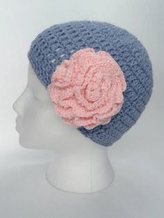 "Crochet Hat in Light Grey with Pink Flower  Boho by toppytoppy, $21.99""Want to see more items from great artists like these? Find Us Here: www.facebook.com/HandmadeCircle"