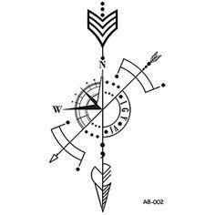 WYUEN Arrow Temporary Tattoo Sticker Compass Tattoos for Women Sexy Body Art Waterproof Men Hand Fake Tatoo Mini Tattoos, Trendy Tattoos, Body Art Tattoos, New Tattoos, Small Tattoos, Sleeve Tattoos, Tattoos For Women, Tattoos For Guys, Tattoo For Man