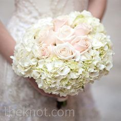 Ultra Elegant Wedding Bouquet In A Biedermeir Like Style With Pastel Creamy Pink Roses Surrounded By White Pastel Green Tinted Hydrangea