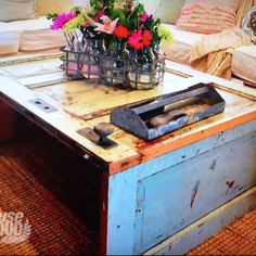 Coffee table made from and old door