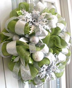 Deco Mesh Wreath Ideas - Bing Images Maybe a brighter green or red instead...