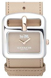 COACH 'Duffel Buckle' Square Leather Strap Watch, 38mm