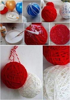Tulix esferas de estambre o mecate paso a paso navidad - Esferas de navidad ...