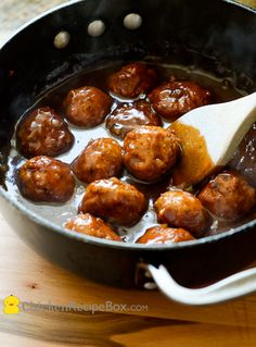 Delicious and easy Smoky BBQ Chicken Meatballs! Make these the night ahead for a weeknight dinner or party. via ChickenRecipeBox.com
