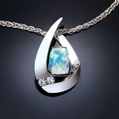 Argentium silver, opal and diamond pendant designed by David Worcester for VerbenaPlaceJewelry.Etsy.com