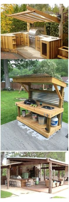 Rustic Outdoor Kitchens, Outdoor Kitchen Bars, Patio Kitchen, Outdoor Kitchen Design, Diy Kitchen, Kitchen Ideas, Kitchen Designs, Simple Outdoor Kitchen, Island Kitchen