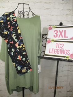 6c2937138877f2 Mixed Items and Lots 84275: Lularoe Nwt Outfit 3Xl Xxxl Solid Olive Irma  And Tc2 Black Green Floral Leggings -> BUY IT NOW ONLY: $58 on eBay!